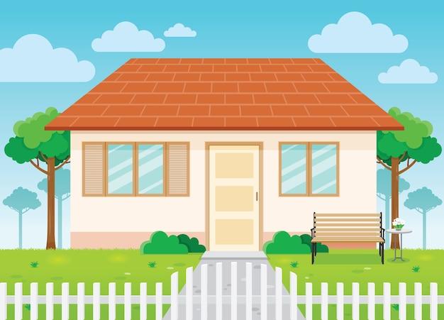 Casa familiar e jardim, exterior da casa