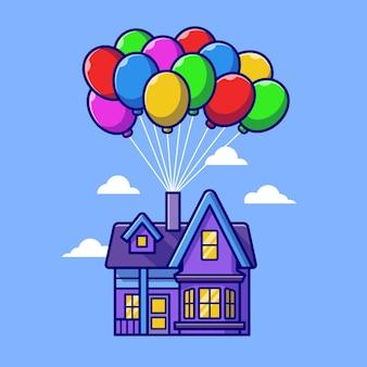 Casa flutuando com ilustração do ícone do vetor dos desenhos animados do balão. conceito de ícone de objeto de construção isolado vetor premium. estilo flat cartoon