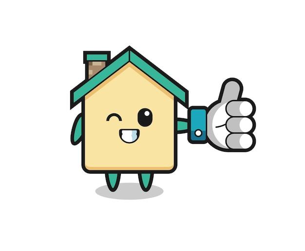 Casa fofa com símbolo de polegar para cima nas redes sociais, design fofo