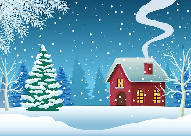 Casa fofa e pinheiro em ilustração de cena de neve