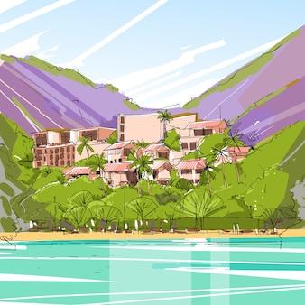 Casa grande moderna da casa dos bens imobiliários na floresta tropical skecth
