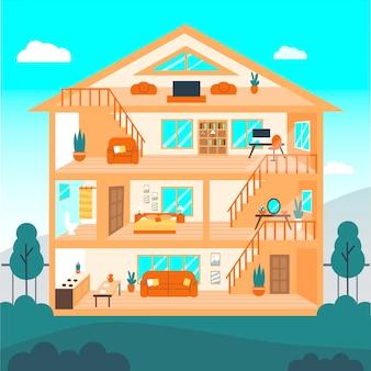 Casa ilustrada em seção transversal