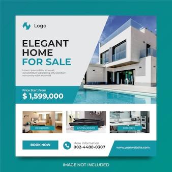 Casa imobiliária para venda de design de modelo de anúncios de promoção de mídia social