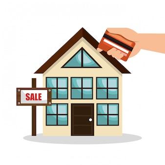 Casa imóveis vender cartão de crédito design de negócios