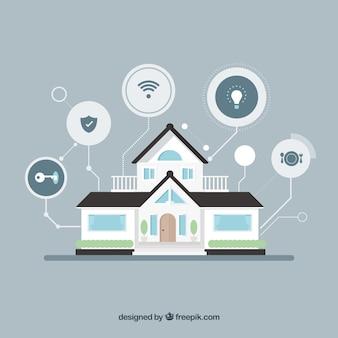 Casa inteligente com funções em estilo plano