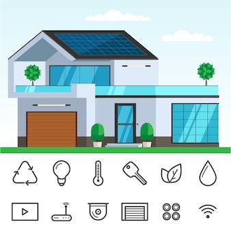 Casa inteligente com painel solar
