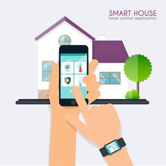 Casa inteligente. conceito de aplicação de controle em casa. mão segurando o telefone inteligente com o aplicativo de controle doméstico e de mãos dadas com o programa casa inteligente na tela.