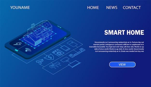Casa inteligente controlada com smartphone. modelo de página de destino