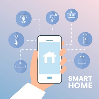 Casa inteligente controlada pelo vetor de infográfico de telefone