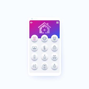 Casa inteligente e aplicativo de automação residencial com ícones de linha