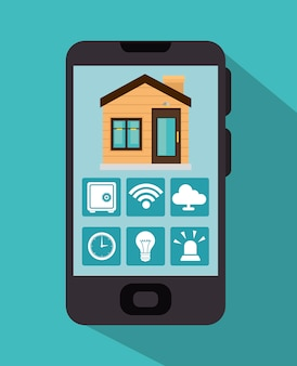 Casa inteligente e seu ícone isolado de aplicações