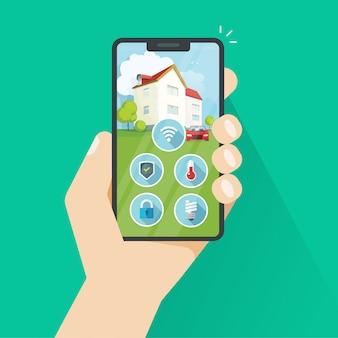 Casa inteligente na ilustração plana dos desenhos animados de telefone