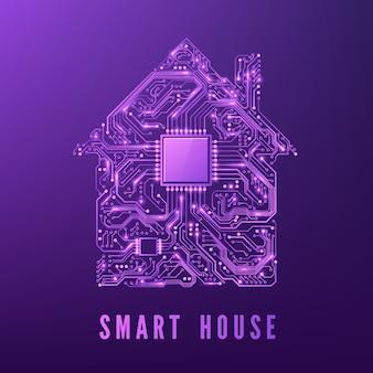 Casa inteligente ou iot concept purple circuit house com cpu