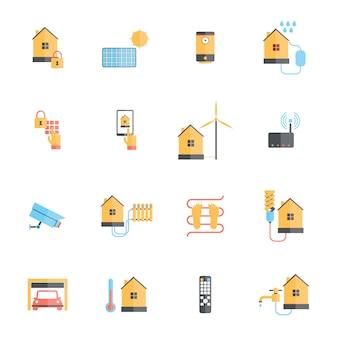 Casa inteligente sistema de monitoramento digital icon set plana