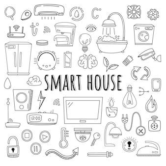 Casa inteligente. vector conjunto de elementos e equipamentos para sistema de casa inteligente. estilo do doodle