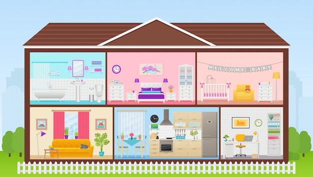 Casa interior com interiores de quartos. ilustração em design plano.