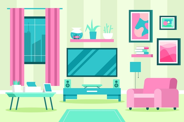 Casa interior fundo tons de rosa e azuis