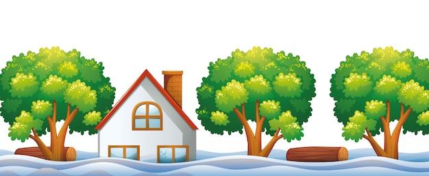 Casa inundada com rio e árvores