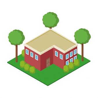 Casa isométrica 3d
