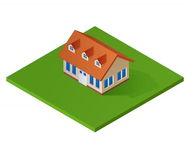 Casa isométrica. casa de campo 3d.