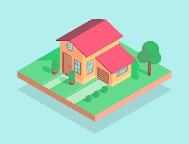 Casa isométrica com árvores