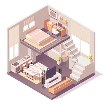 Casa isométrica composição de diferentes quartos