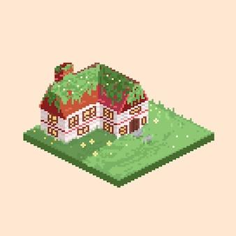 Casa isométrica de desenho de pixel art no jardim