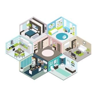 Casa isométrica diferentes pisos composição