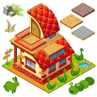 Casa isométrica e arbustos em formas de animais.