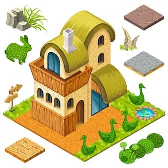 Casa isométrica e arbustos em formas de animais
