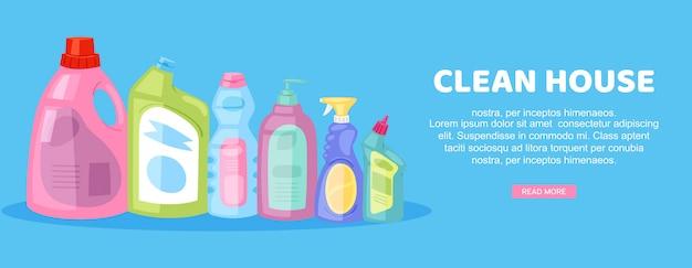Casa limpa, inscrição no banner brilhante, trabalho doméstico interno, publicidade doméstica, na ilustração dos desenhos animados.