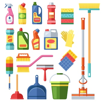 Casa, limpeza, ferramentas, vetorial