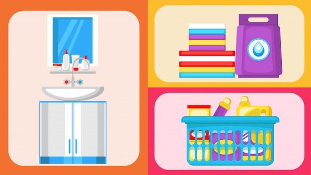 Casa limpeza suprimentos plana ilustrações conjunto