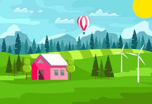 Casa linda paisagem de verão com balão