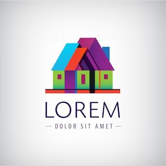 Casa, logotipo da empresa de construção geométrica isolado