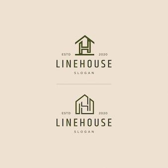 Casa logotipo linha arte vintage retro