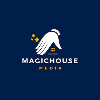 Casa mágica logo vector icon ilustração