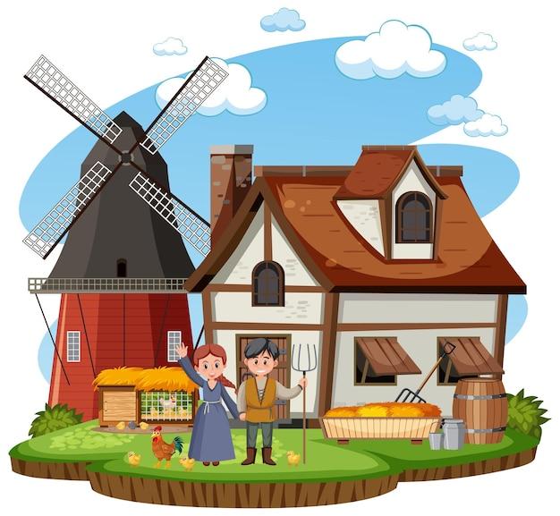 Casa medieval com aldeões e animais de fazenda