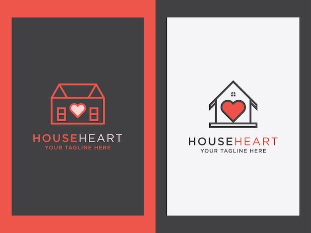 Casa minimalista criativa com design de ícone de coração definir conceito de casa de con
