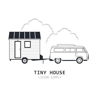 Casa minúscula sobre rodas - minivan e choupana de trailer, cabana de viagem ou cabine e suv