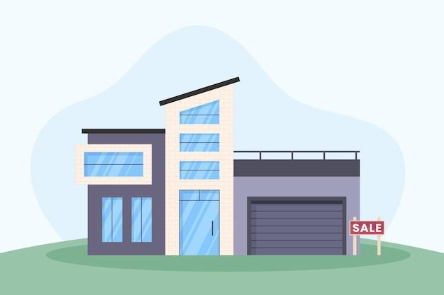 Casa moderna à venda com placa