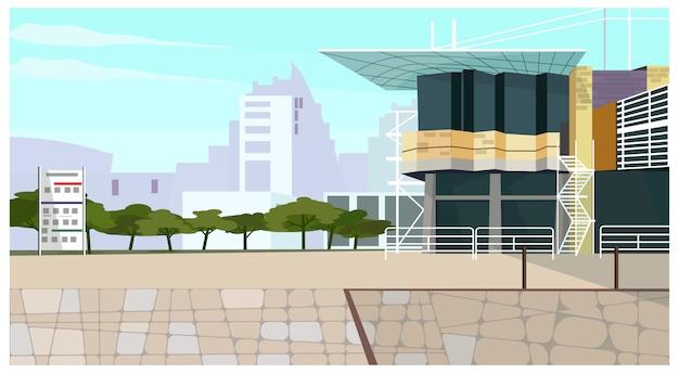 Casa moderna casa de campo com ilustração longa do telhado