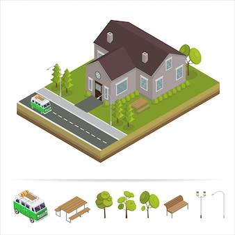Casa moderna. casa moderna. conceito isométrico. imobiliária. chalé. casa isométrica. ícone de computador. estilo escandinavo moderno