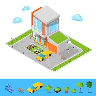 Casa moderna com garagem, parque infantil de basquete e telhado verde. edifício isométrico.