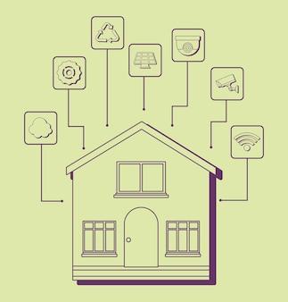 Casa moderna com ícones relacionados casa inteligente