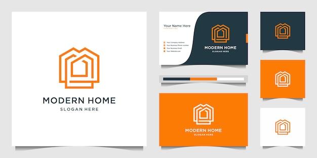 Casa moderna de logotipo para construção, casa, imóveis, construção, propriedade. modelo de design de logotipo e design de cartão de visita