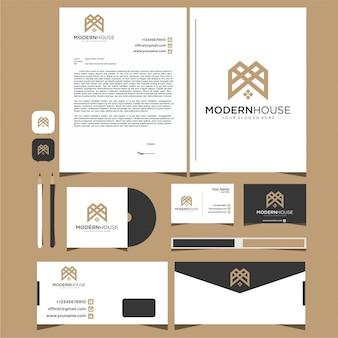 Casa moderna de logotipo para construção, casa, imóveis, construção, propriedade. modelo de design de logotipo e papelaria