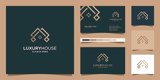 Casa moderna de logotipo para construção, casa, imóveis, construção, propriedade. modelo de design de modelo e cartão de visita profissional impressionante na moda mínimo