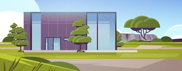 Casa moderna de painéis sanduíche com grandes janelas panorâmicas construção de casas contemporâneas ecologicamente corretas conceito de habitação modular ilustração vetorial horizontal