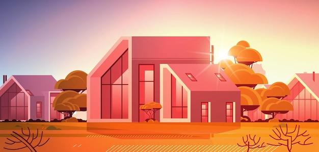 Casa moderna de painéis sanduíche com grandes janelas panorâmicas construção de casas contemporâneas ecologicamente corretas conceito de habitação modular pôr do sol paisagem de fundo ilustração vetorial horizontal